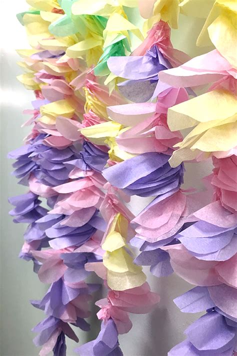 Garland With Paper Flowers - diy tissue paper flower garland jam