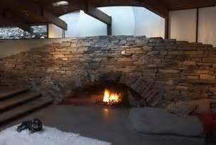 matching stone kitchen fireplace