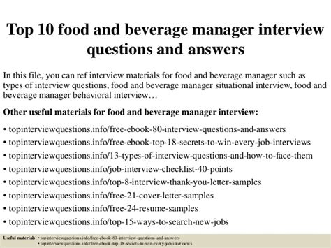 top 10 food and beverage manager questions and answers
