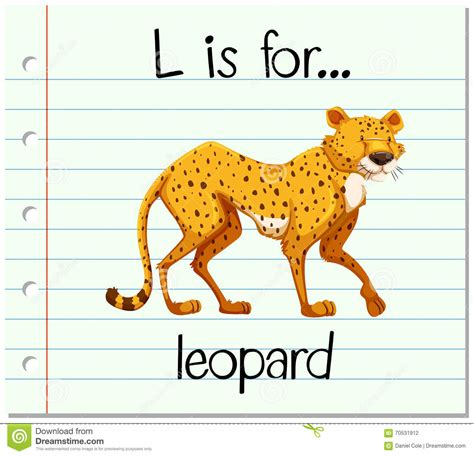 L For by Flashcard Letter L Is For Leopard Stock Illustration