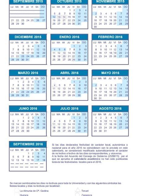 Calendario Zaragoza 2015 Calendario De La Universidad De Zaragoza 2015 2016