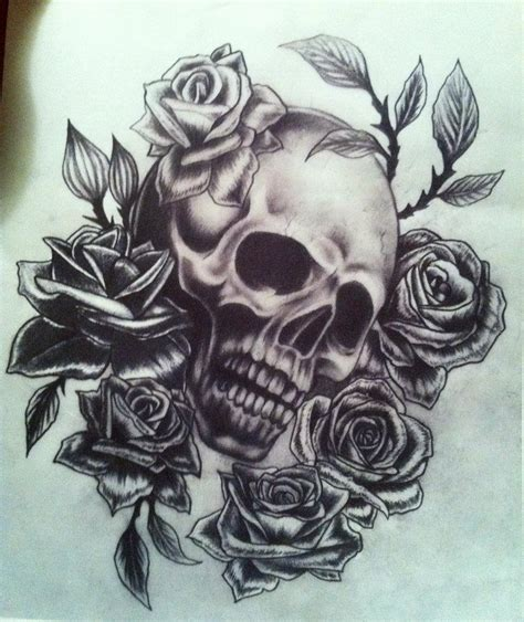 skull with roses tattoo skull and roses chest interior home design