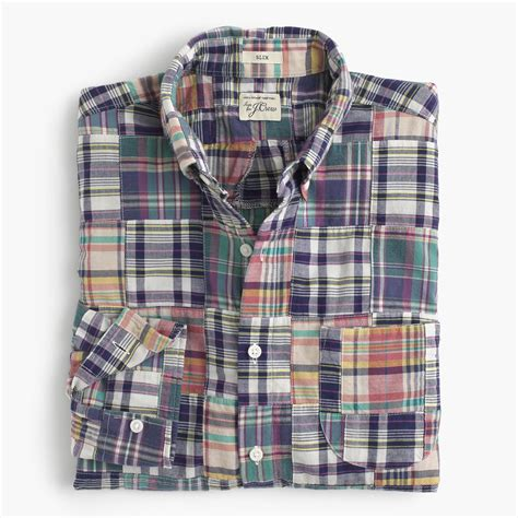 slim indian madras shirt in patchwork lightweight