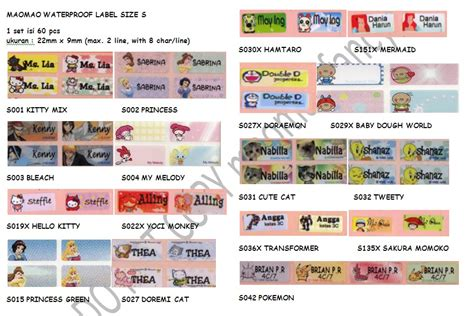 Premium Sticker Nama 4 maomao fancy terima pesanan label nama waterpoof