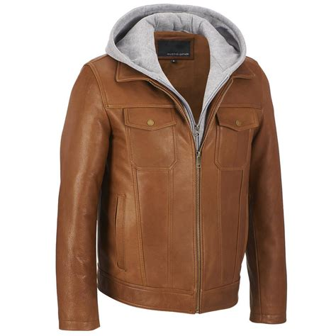 bomber jacket leather wilsons leather mens hooded leather bomber jacket w