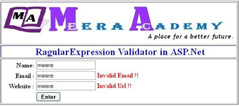email format validation in asp net how to use regularexpression validator in asp net
