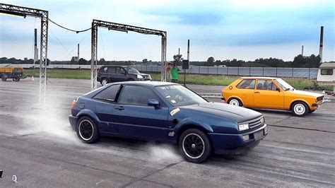 vw corrado vr twin engine turbo sound drag race acceleration youtube