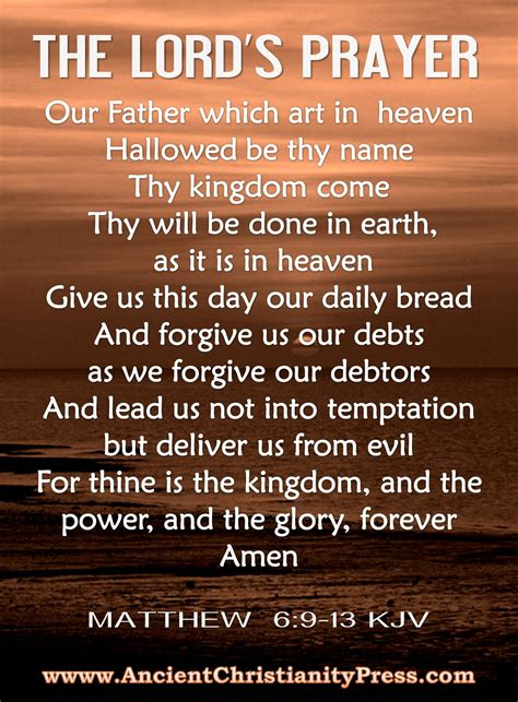 printable version of the lord s prayer the lord s prayer matthew 6 9 13 kjv the lord is my