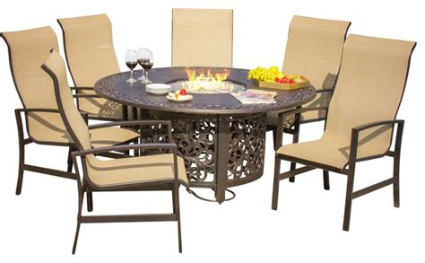 acadia 6 person sling patio dining set with pit table