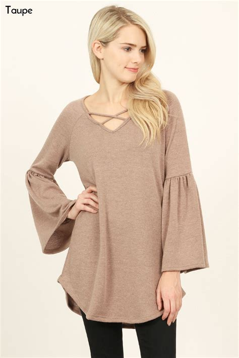 groopdealz criss cross sweater tunic 2 colors