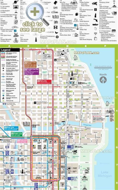 chicago map attractions maps update 7001148 tourist map of downtown chicago 15