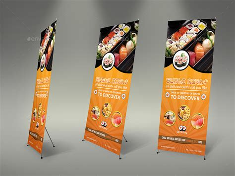 banner design japan sushi restaurant rollup signage banner template by