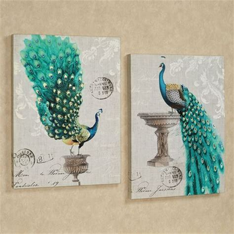 Peacock Wall Decor by Peacock Fanfare Giclee Canvas Wall Set