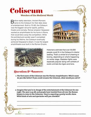 ancient rome worksheets coliseum worksheet education