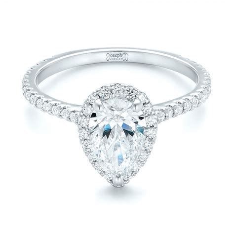 Pear Shaped Engagement Ring by Custom Pear Shaped And Halo Engagement Ring 102743