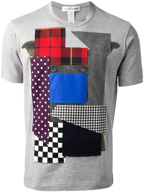 Patchwork Shirts - comme des gar 231 ons patchwork tshirt in gray for lyst