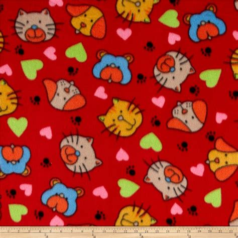 printable fabric wholesale polar fleece print cat dog red discount designer fabric