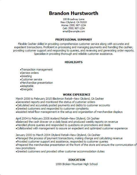 Resume For A Cashier Professional Cashier Resume Templates To Showcase Your Talent Myperfectresume
