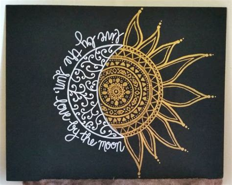 live by the sun love by the moon tattoo 11x14 original painted canvas live by the sun by