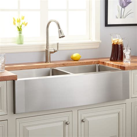 ackerman double bowl stainless steel farmhouse sink