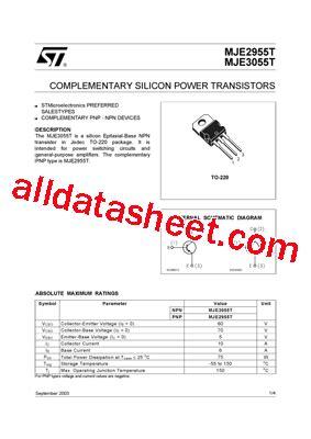 a1023 transistor datasheet pdf mje3055t fiche technique pdf stmicroelectronics