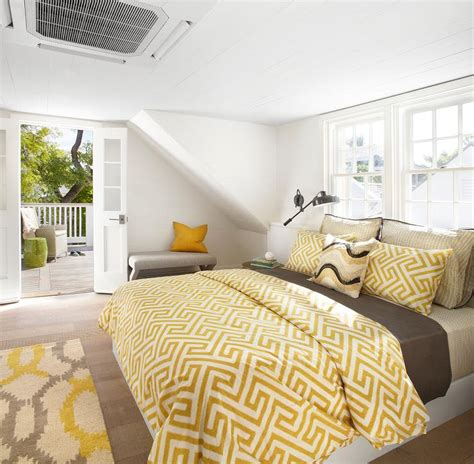 yellow and brown bedroom plank ceiling cottage bedroom pat o neal interiors