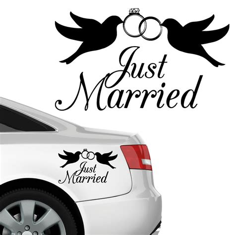 Just Married Aufkleber F R Auto by Autoaufkleber Just Married Aufkleber
