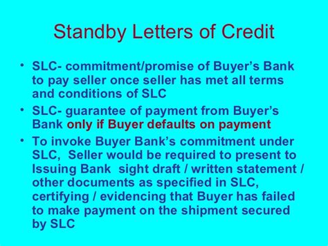 Payment Guarantee Standby Letter Of Credit Overview Of International Banking Business