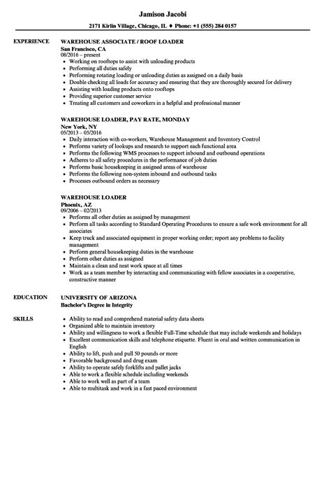 Warehouse Resume by Warehouse Loader Resume Sles Velvet