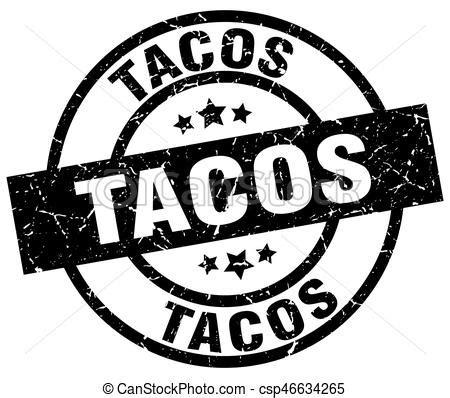 Taco Noir timbre grunge noir rond tacos