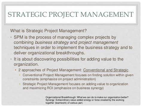 Strategic Management Projects Mba by Strategic Project Management