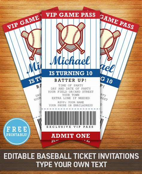 Baseball Birthday Party Invitation Free Printable M Gulin Baseball Ticket Invitation Template Free