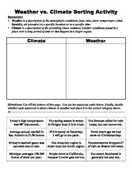 Weather Vs Climate Worksheet by Climate Vs Weather Sorting Activity By Bigbrainofscience