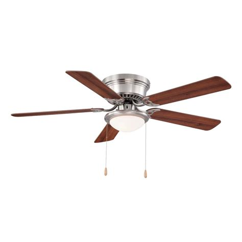 30 hugger ceiling fan with light hugger 52 in led indoor brushed nickel ceiling fan with