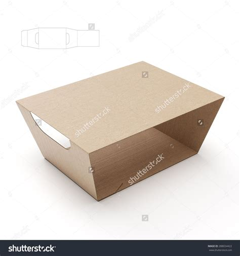 Empty Food Tray Sleeve Packaging With Handles And Blueprint Template Stock Photo 288654422 Packaging Sleeve Template