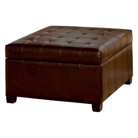 Leather Ottoman Shelf by Fiona Tufted Leather Storage Ottoman Ottomans At Hayneedle