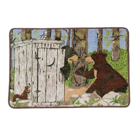 i gotta go to the bathroom humorous saturday knight bathroom gotta go outhouse bath rug cabin bear