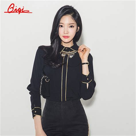 Jaket Casual Korean Trendy Sk 53 1 popular black gold blouse buy cheap black gold blouse lots from china black gold blouse