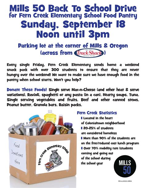 Food Pantry Flyer by Donate To The Fern Creek Elementary Food Pantry Mills 50