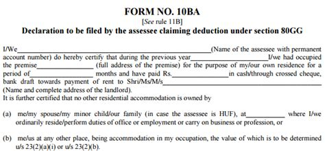income tax exemption under section 10 hra increased from 24 000 to 60 000 under section 80gg