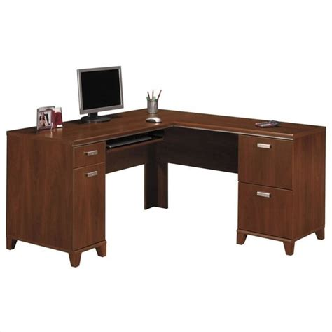 Cherry Laptop Desk Bush Tuxedo L Shape Wood Computer Desk In Hansen Cherry Wc21430k