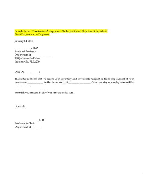 Offer Letter Quiting Sle Resignation Acceptance Letter 6 Exles In Pdf Word