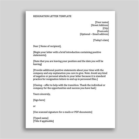job resignation letter template employees ms word