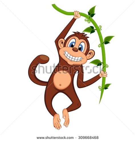 monkey swinging on a vine monkey swinging on vines stock vector