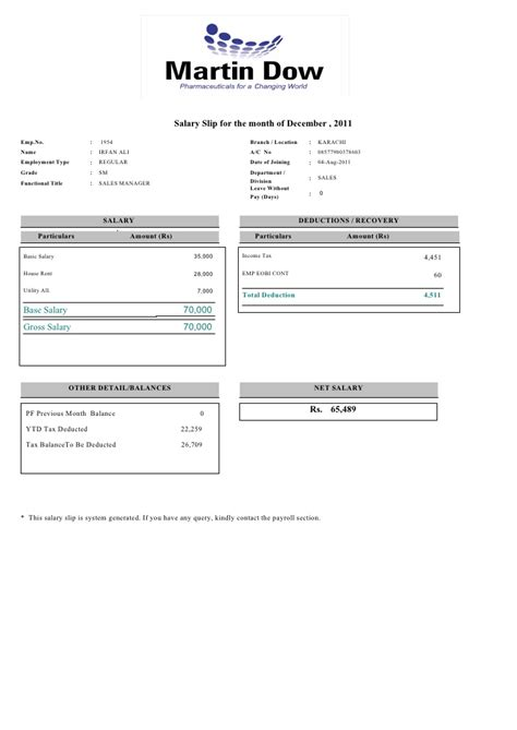 payslip of 12 2011 for emp 1954