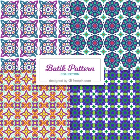 Set Of Batik patterns set of batik geometric shapes vector free