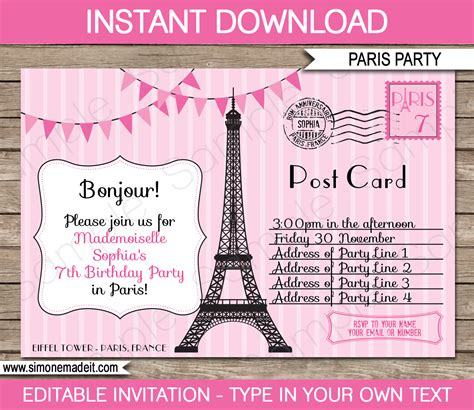 paris party invitations template postcard to paris