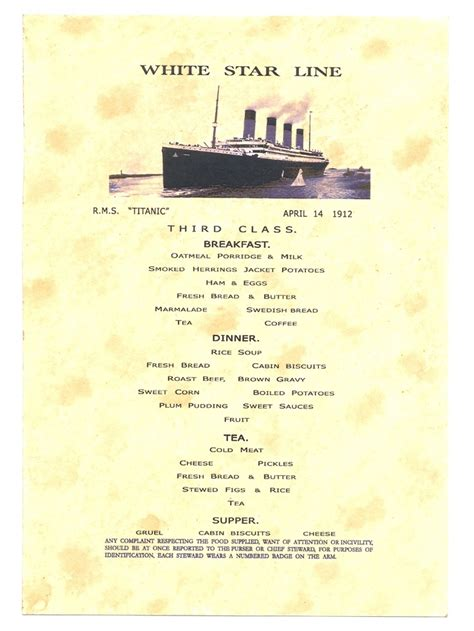 titanic third class menu 17 best images about white star line co on pinterest