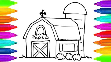 how to color a house how to draw farm house coloring pages for kids art