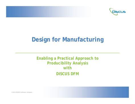 design for manufacturing slideshare discus dfm